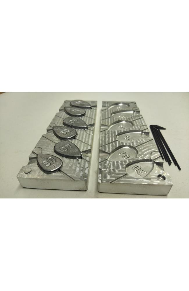 Форма для литья грузил скользящая ложка .   Вес 30, 40, 50, 60, 70, 80 гр.